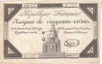 France 50 Livres France assise - 14-12-1792 - Sign. Le Brun - TTB