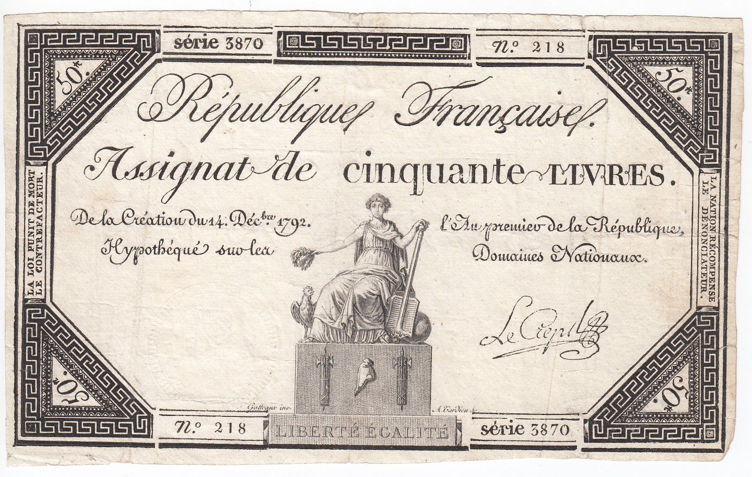 France 50 Livres France assise - 14-12-1792 - Sign. Le Creps - TTB