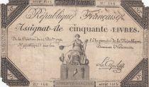 France 50 Livres France assise - 14-12-1792 - Sign. Le Creps