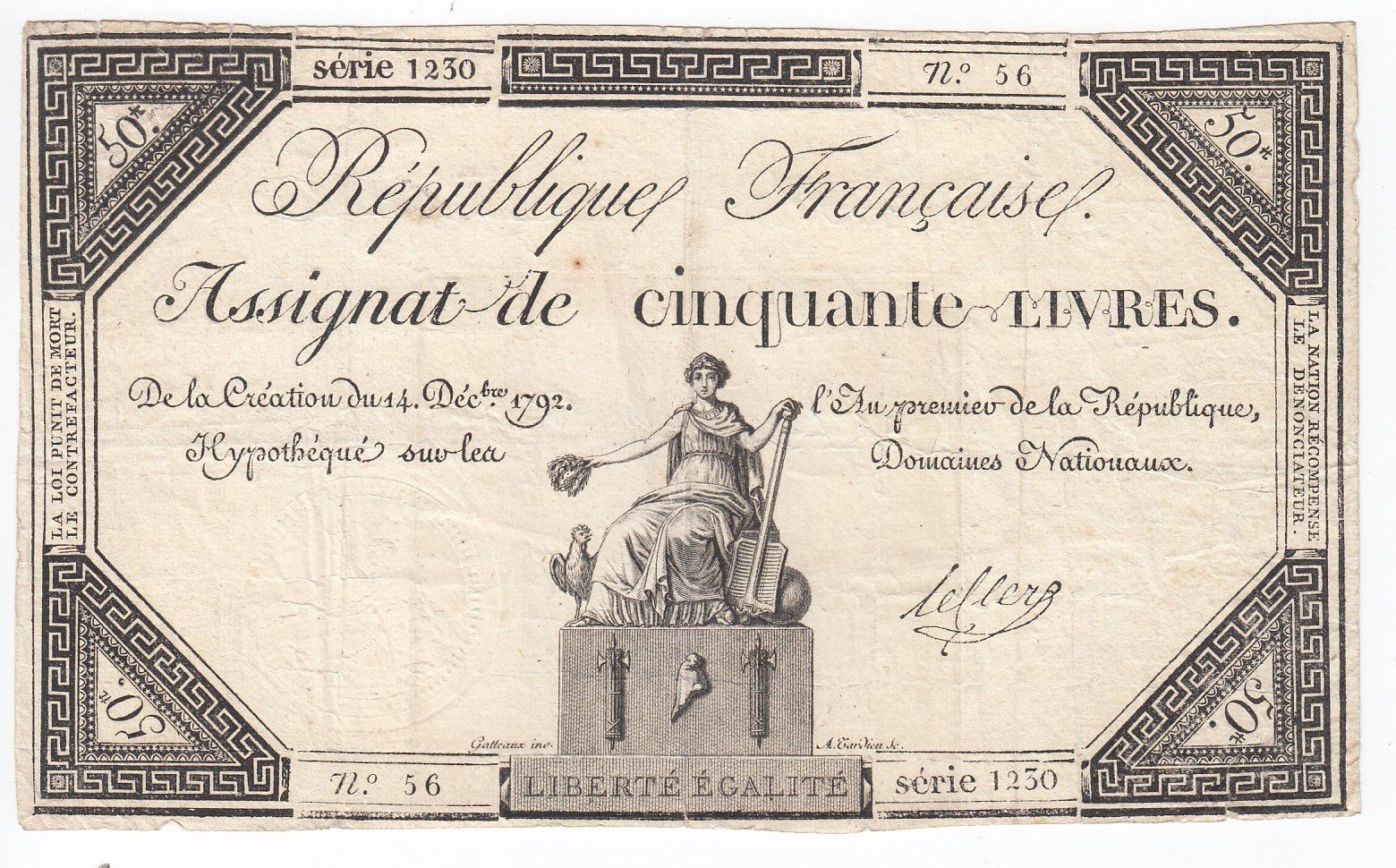 France 50 Livres France assise - 14-12-1792 - Sign. Leclerc - TB+