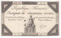 France 50 Livres France assise - 14-12-1792 - Sign. Leclerc - TB+