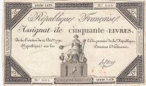 France 50 Livres France assise - 14-12-1792 - Sign. Leclerc