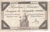 France 50 Livres France assise - 14-12-1792 - Sign. Lehu - TB