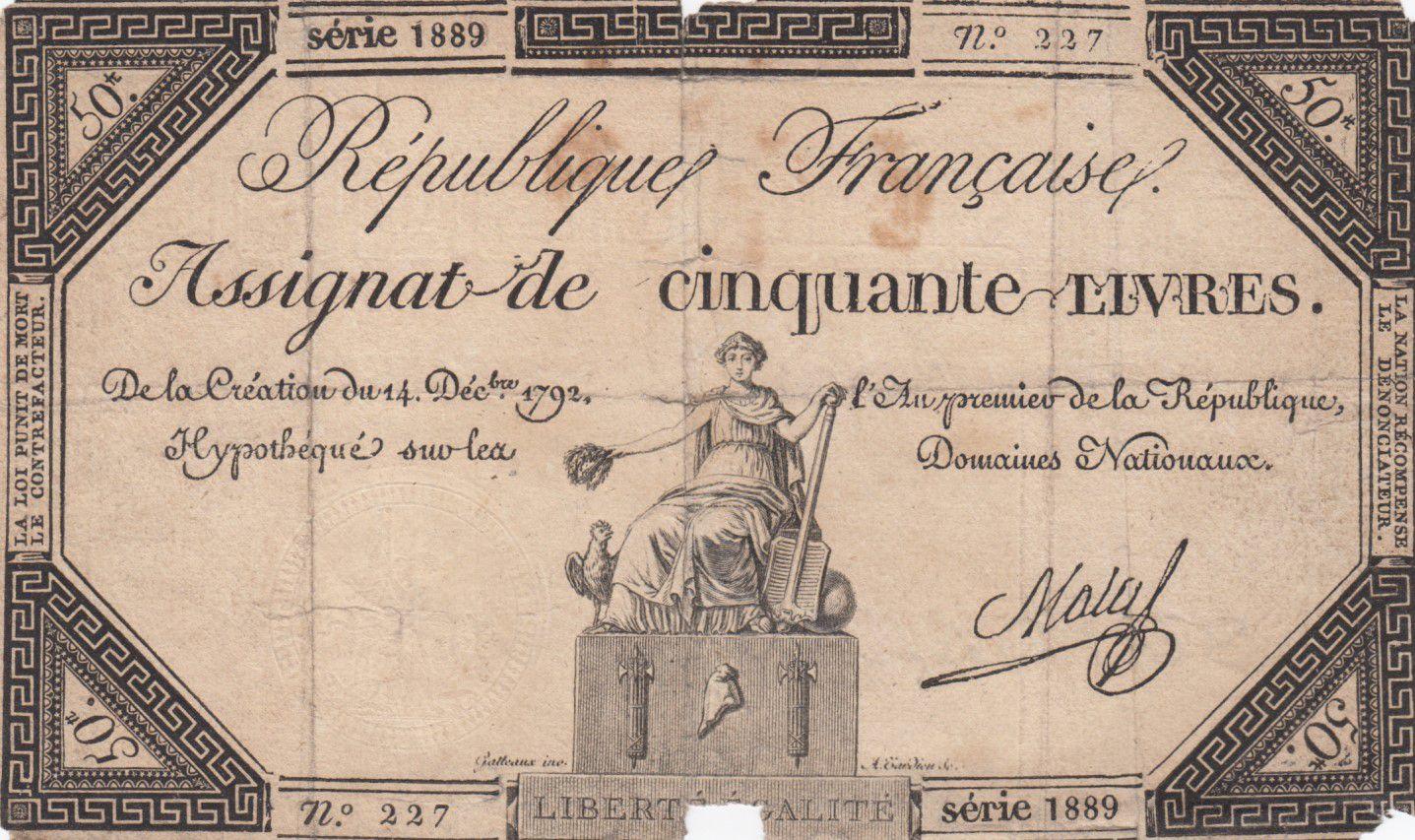 France 50 Livres France assise - 14-12-1792 - Sign. Mala