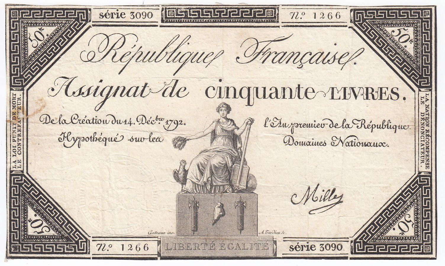 France 50 Livres France assise - 14-12-1792 - Sign. Mille - TB+