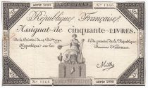 France 50 Livres France assise - 14-12-1792 - Sign. Mille - TB+