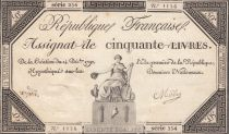 France 50 Livres France assise - 14-12-1792 - Sign. Mille