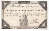 France 50 Livres France assise - 14-12-1792 - Sign. Nyon - TB+