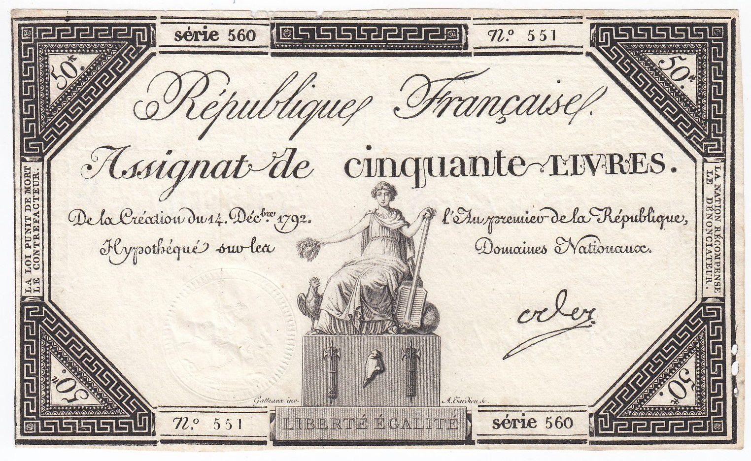 France 50 Livres France assise - 14-12-1792 - Sign. Oder - SUP