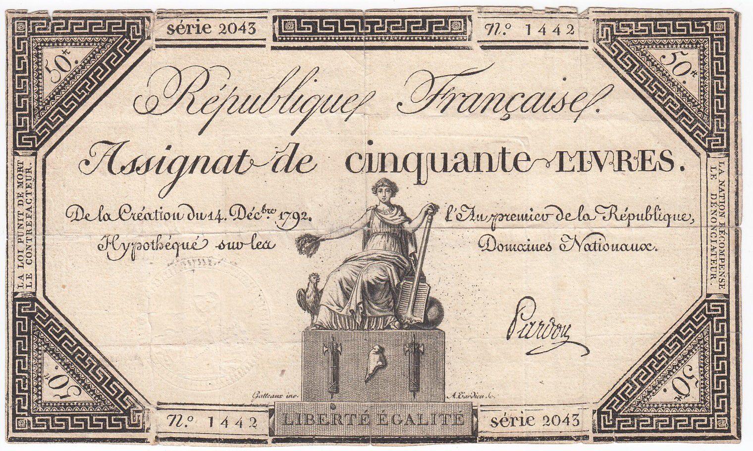 France 50 Livres France assise - 14-12-1792 - Sign. Pardon - TB