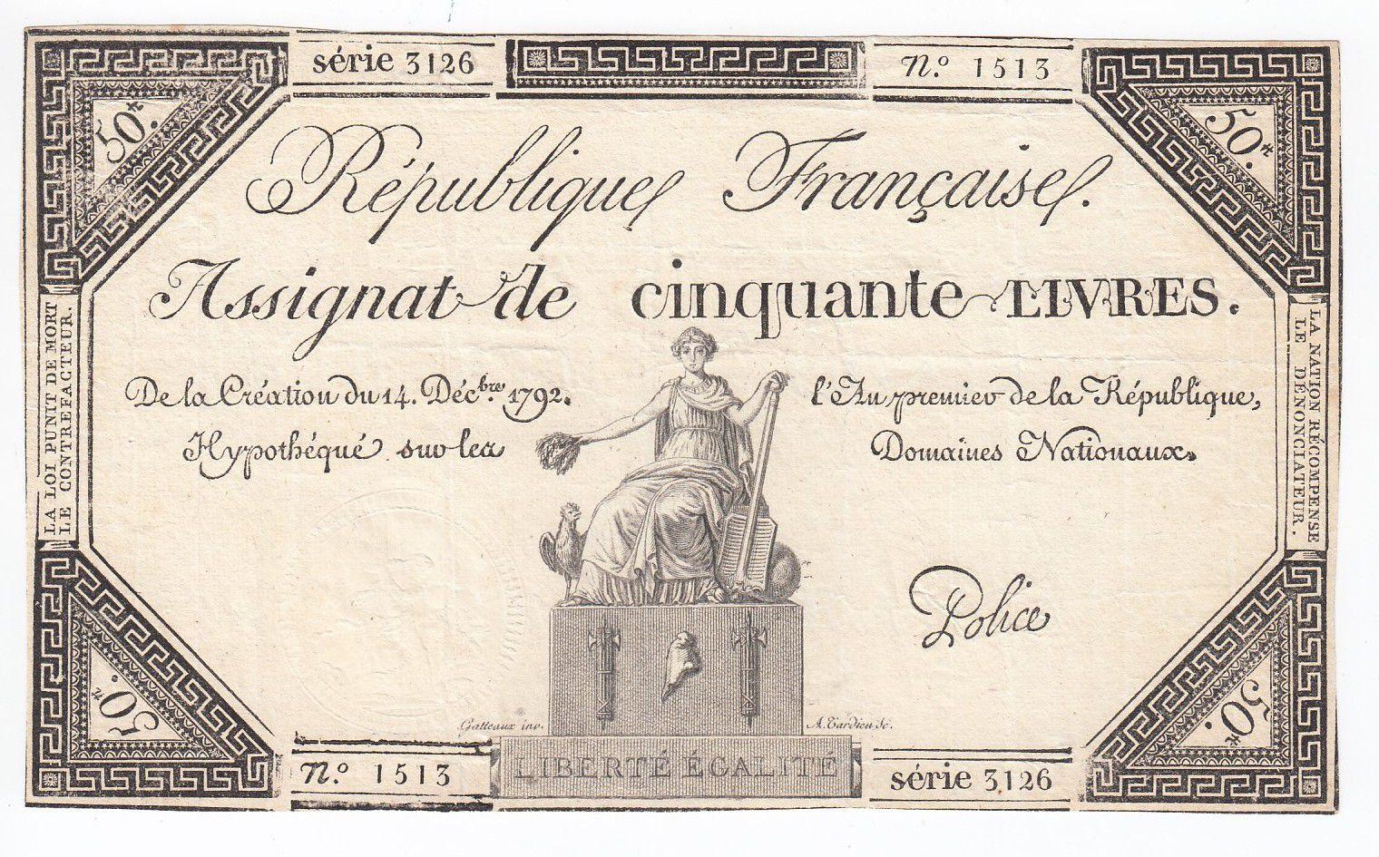 France 50 Livres France assise - 14-12-1792 - Sign. Police - TTB