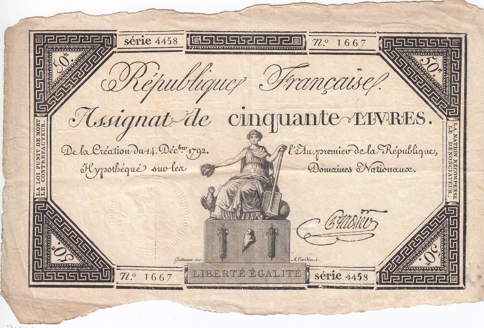 France 50 Livres France assise - 14-12-1792 - Sign. Pradier - TTB
