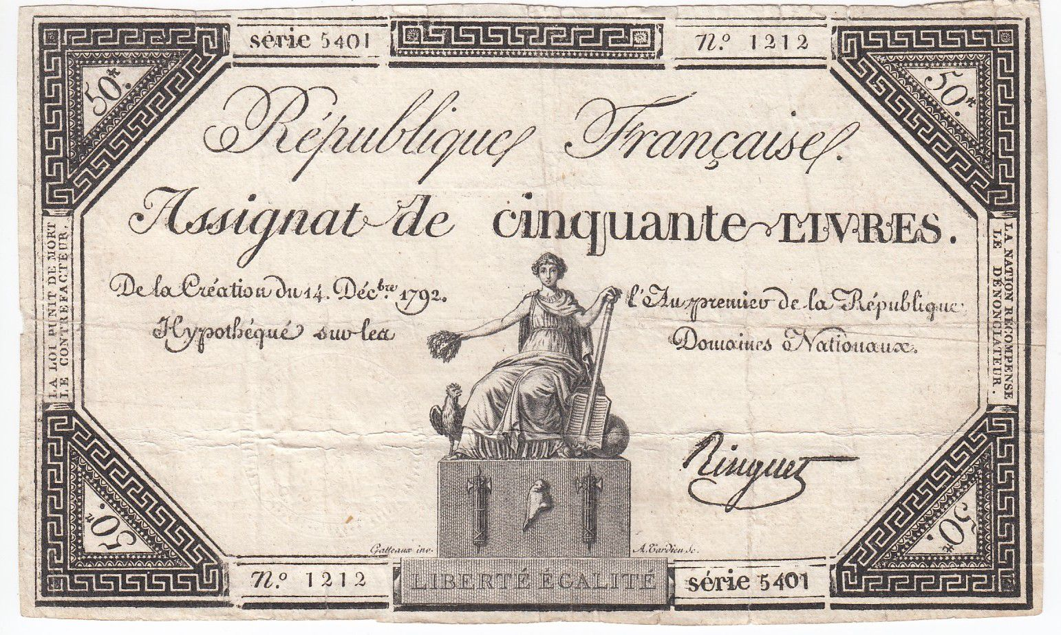 France 50 Livres France assise - 14-12-1792 - Sign. Ringuet - TTB