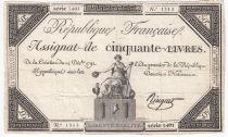 France 50 Livres France assise - 14-12-1792 - Sign. Ringuet - TTB