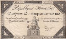 France 50 Livres France assise - 14-12-1792 - Sign. Ringuet