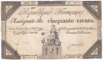 France 50 Livres France assise - 14-12-1792 - Sign. Sauvage - PTB