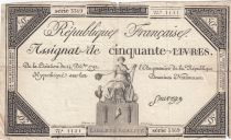 France 50 Livres France assise - 14-12-1792 - Sign. Sauvage