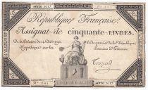 France 50 Livres France assise - 14-12-1792 - Sign. Touzard - TB+