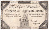 France 50 Livres France assise - 14-12-1792 - Sign. Touzard - TTB