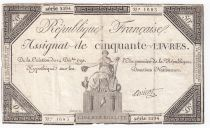 France 50 Livres France seated - 14-12-1792 - Sign. Anicot - F