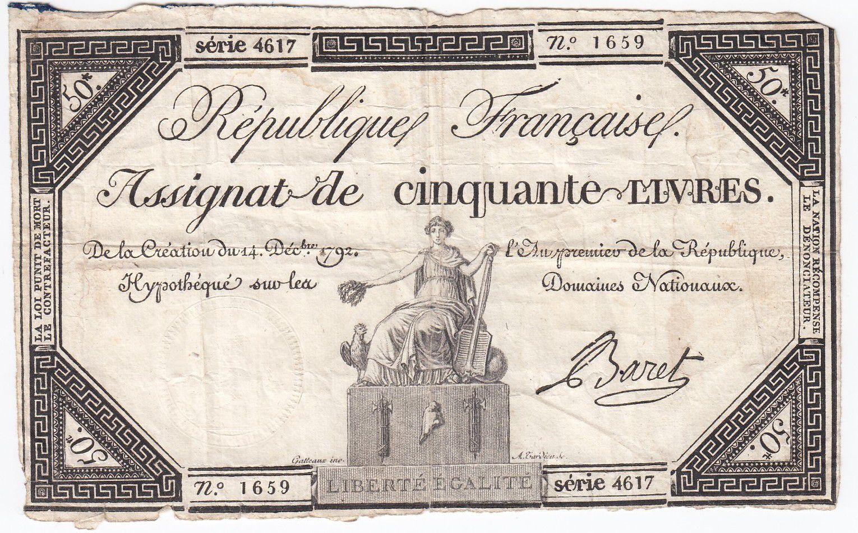 France 50 Livres France seated - 14-12-1792 - Sign. Baret - F