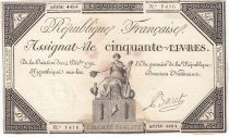 France 50 Livres France seated - 14-12-1792 - Sign. Baret - VF+