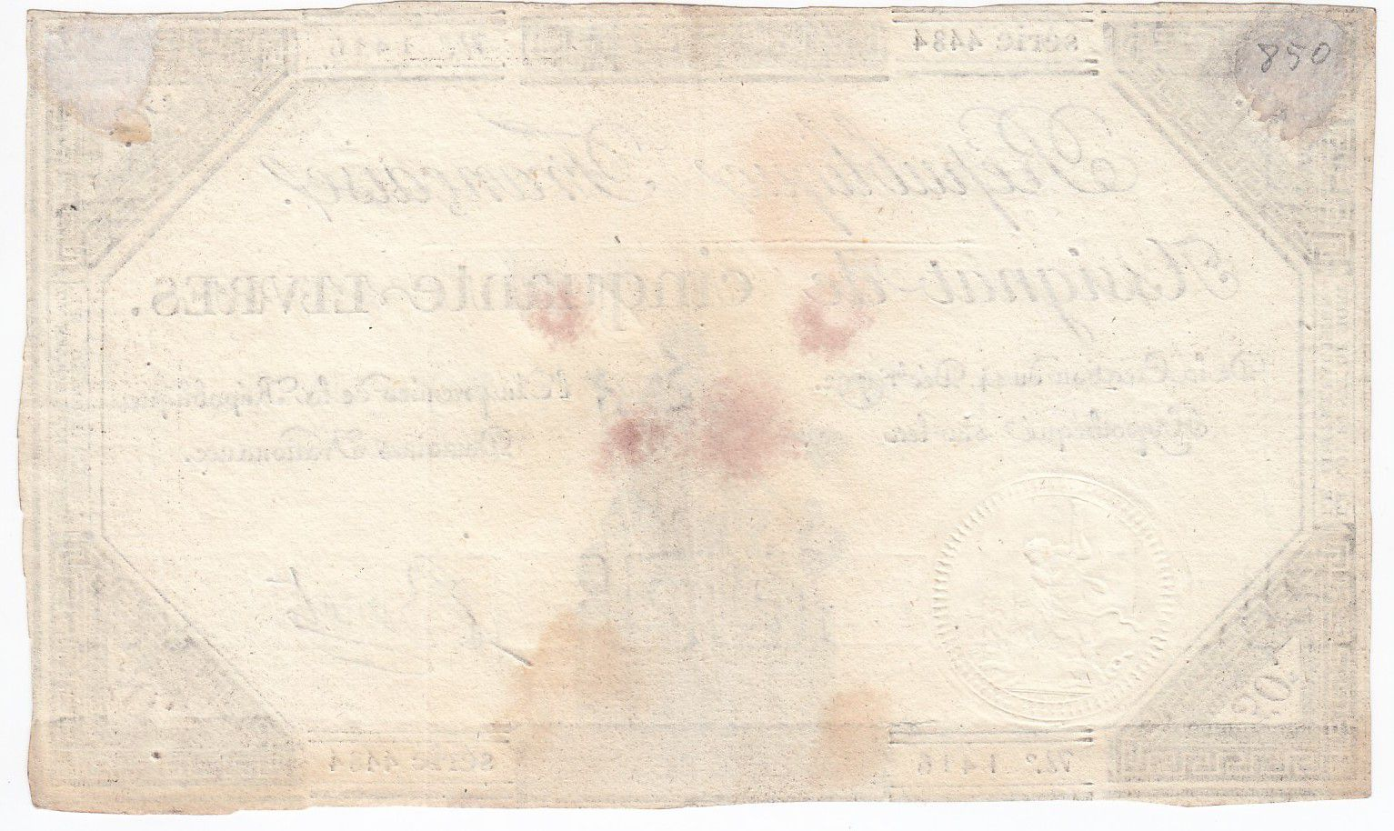 France 50 Livres France seated - 14-12-1792 - Sign. Baret - VF+