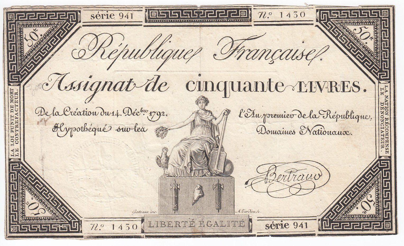 France 50 Livres France seated - 14-12-1792 - Sign. Bertrand - F+