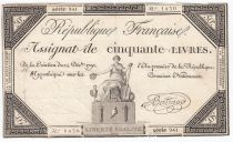 France 50 Livres France seated - 14-12-1792 - Sign. Bertrand - F+