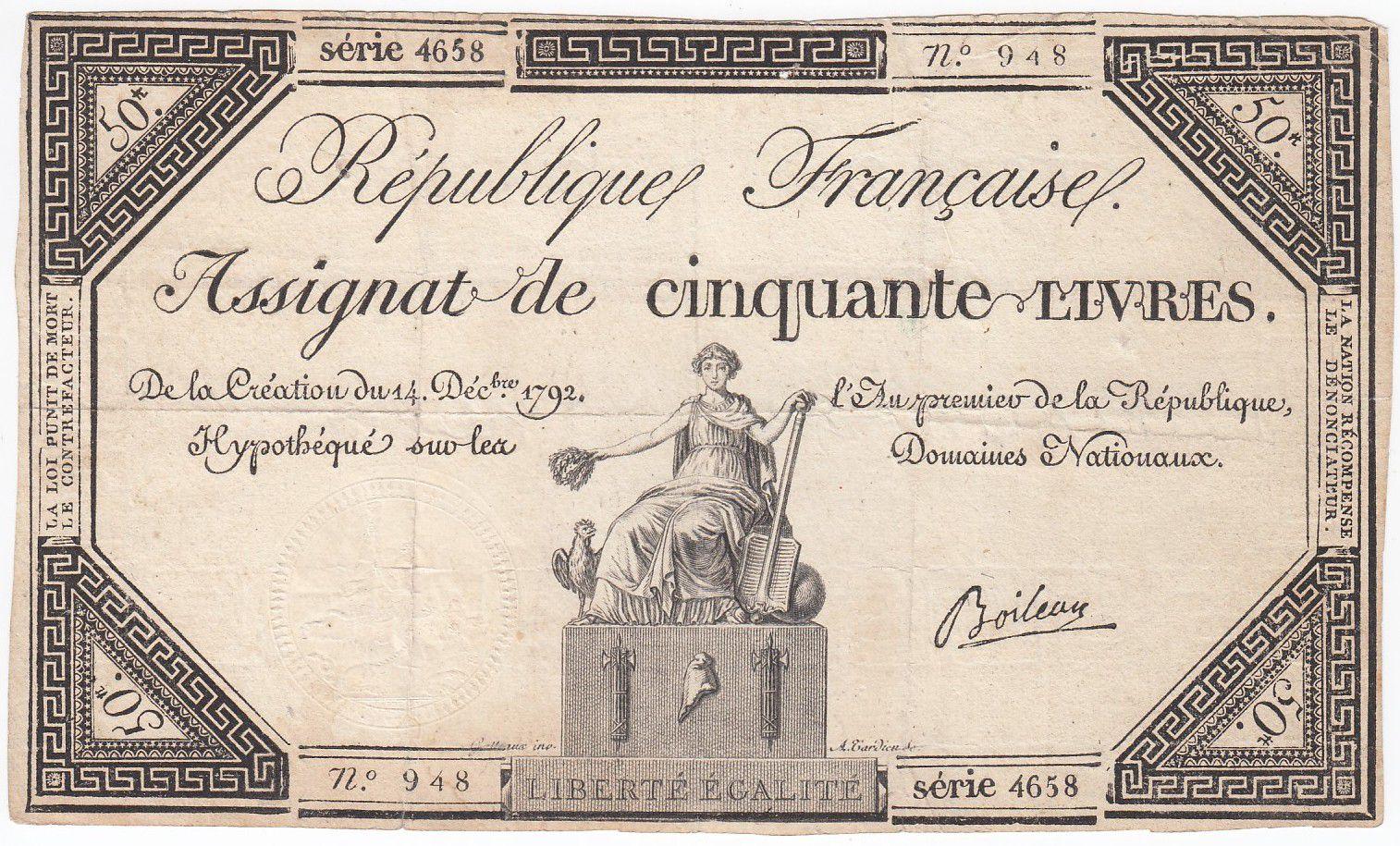 France 50 Livres France seated - 14-12-1792 - Sign. Boileau - VF