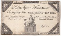 France 50 Livres France seated - 14-12-1792 - Sign. Boileau - VF