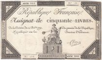 France 50 Livres France seated - 14-12-1792 - Sign. Chocus - VF