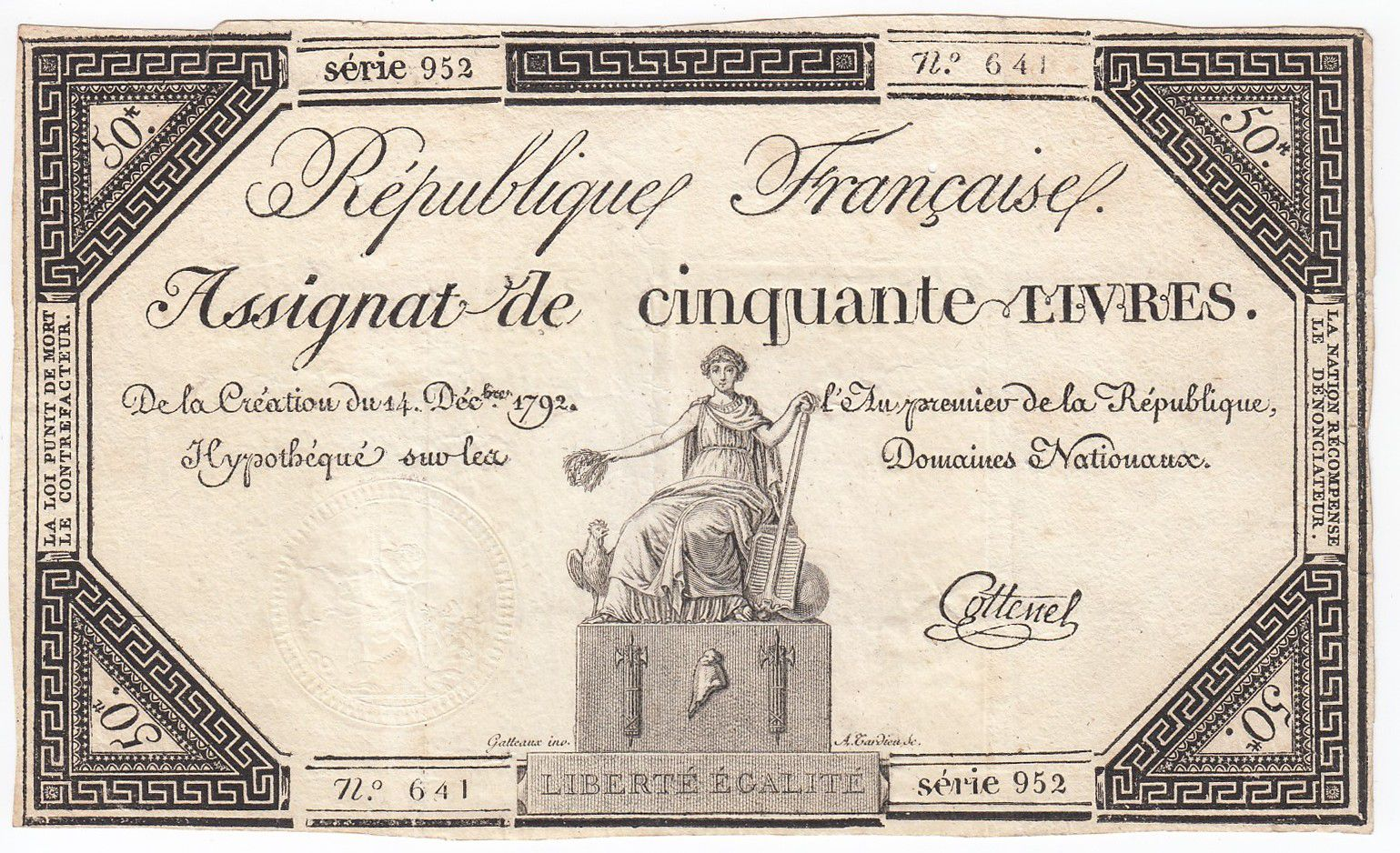 France 50 Livres France seated - 14-12-1792 - Sign. Cottenel - VF+