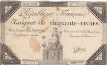 France 50 Livres France seated - 14-12-1792 - Sign. Cottenel