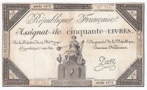 France 50 Livres France seated - 14-12-1792 - Sign. Dasse- F+