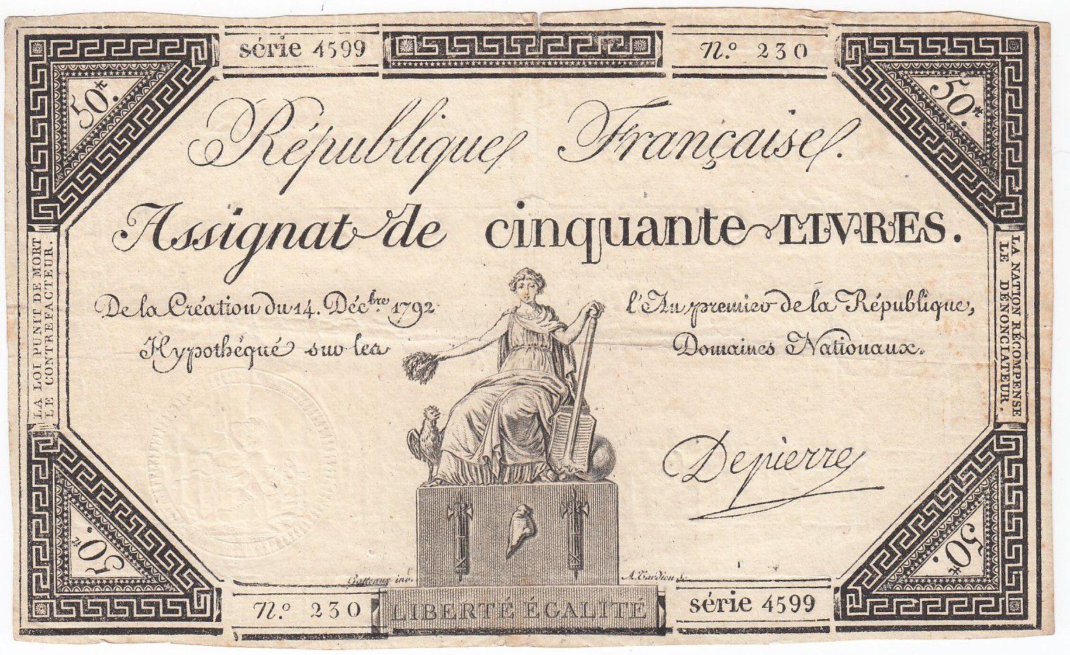 France 50 Livres France seated - 14-12-1792 - Sign. Depierre - VF