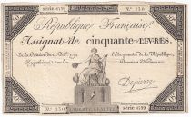 France 50 Livres France seated - 14-12-1792 - Sign. Depierre - VF