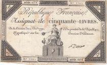 France 50 Livres France seated - 14-12-1792 - Sign. Dreux - F