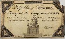 France 50 Livres France seated - 14-12-1792 - Sign. Dreux - Serial 821 - G+