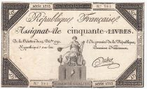 France 50 Livres France seated - 14-12-1792 - Sign. Dubois - XF