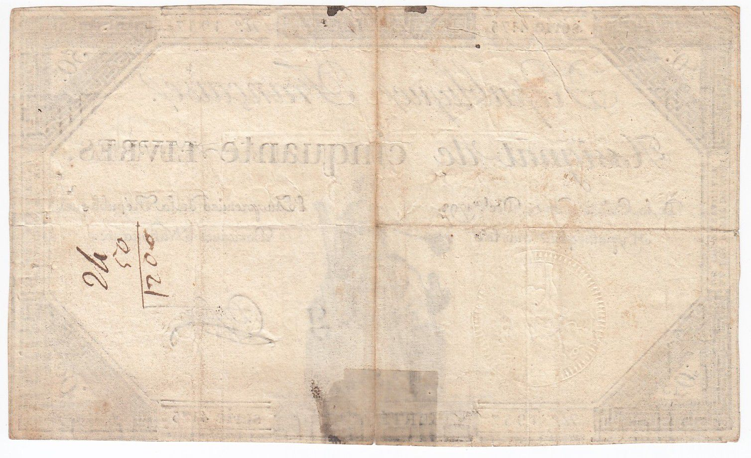 France 50 Livres France seated - 14-12-1792 - Sign. Dufour - VF