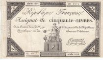 France 50 Livres France seated - 14-12-1792 - Sign. Dumas - F+