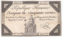 France 50 Livres France seated - 14-12-1792 - Sign. Goutallier - F+