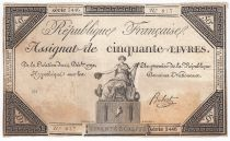 France 50 Livres France seated - 14-12-1792 - Sign. Hubert - F+