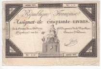 France 50 Livres France seated - 14-12-1792 - Sign. Jacob - F+