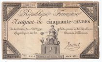 France 50 Livres France seated - 14-12-1792 - Sign. Jannel - F