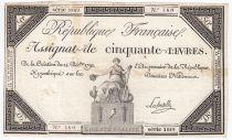 France 50 Livres France seated - 14-12-1792 - Sign. Lafortelle - VF