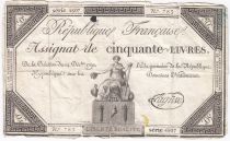 France 50 Livres France seated - 14-12-1792 - Sign. Lagrive - F