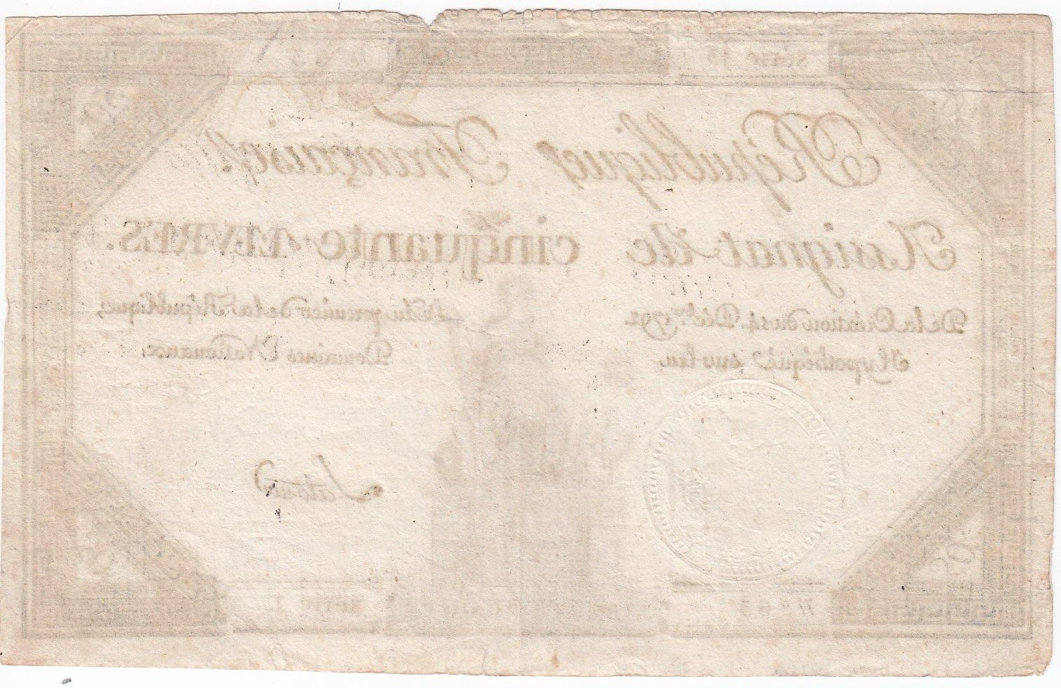 France 50 Livres France seated - 14-12-1792 - Sign. Latour - VF