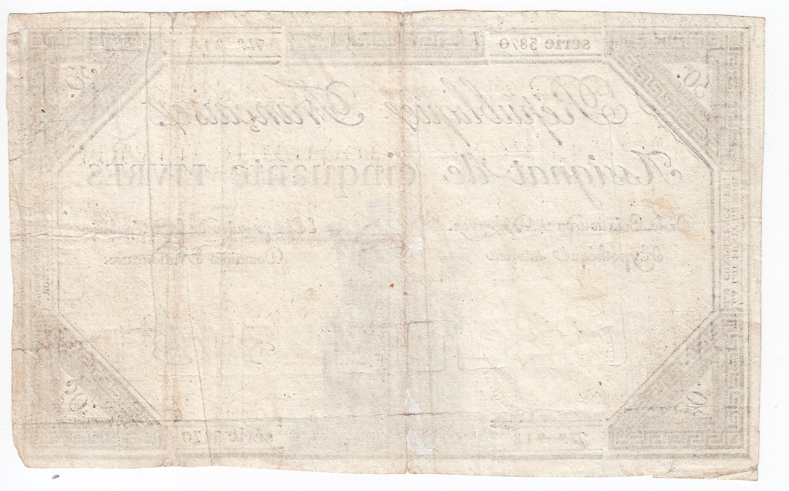 France 50 Livres France seated - 14-12-1792 - Sign. Le Creps - VF